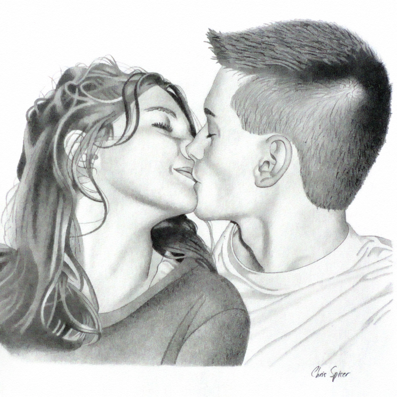 Kissy Time: Graphite Pencil Drawing by Christopher Spicer - Time stops for two young lovers as they share a tender but passionate kiss.
