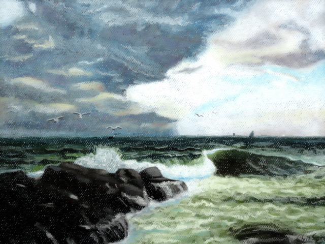 Tempest on the Rocks: Oil Pastel Drawing by Christopher Spicer