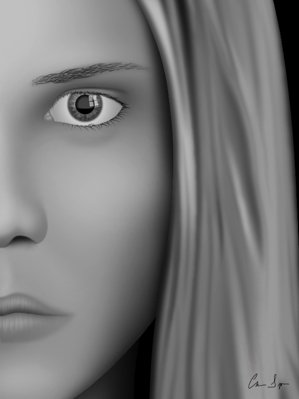 Inside: Digital Art by Christopher Spicer - Portrait of a beautiful young girl as she stares through a window, longing for something more.
