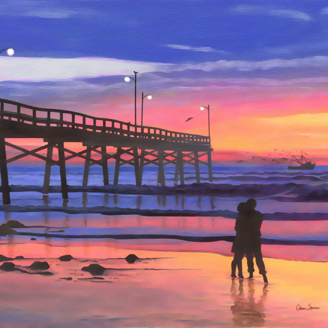 Dusk at the Pier - Painting by Christopher Spicer