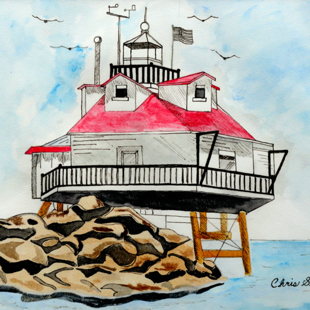Thomas Point Lighthouse - Painting by Christopher Spicer