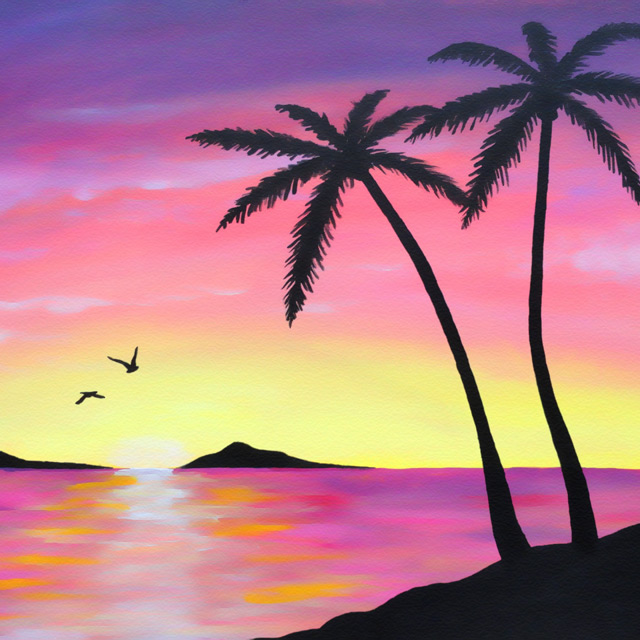 Tropical Sunrise - Painting by Christopher Spicer